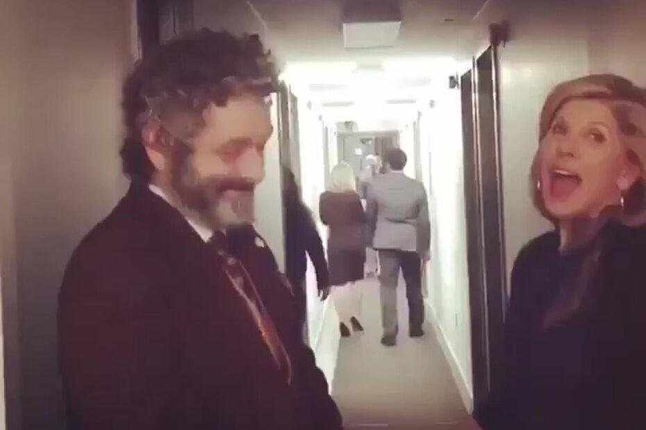 Christine Baranski and Cush Jumbo sing to Michael Sheen