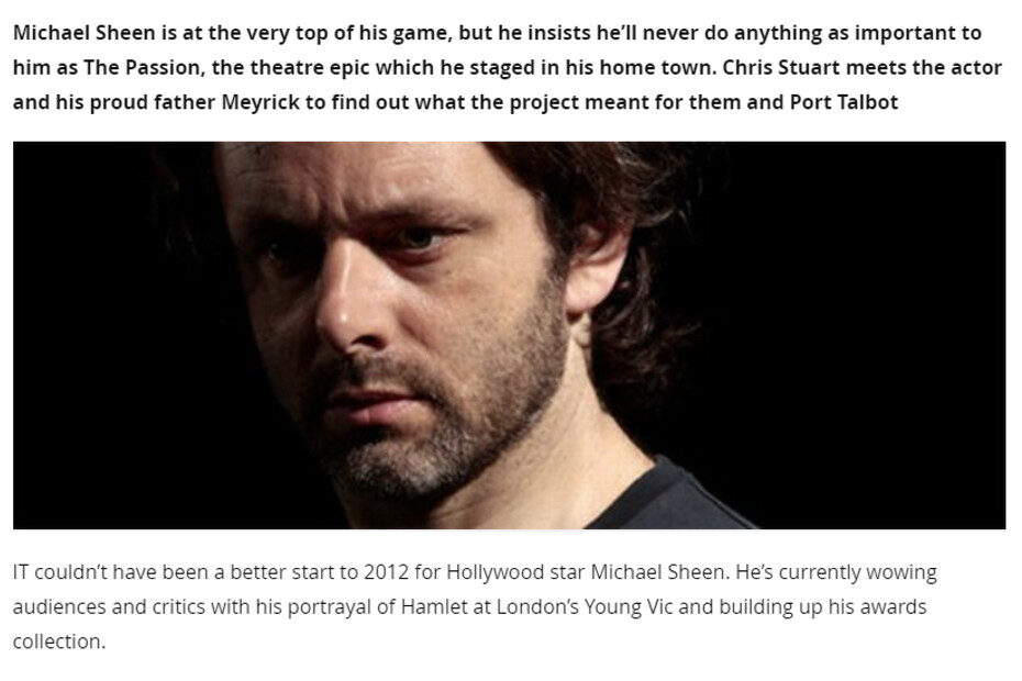 Michael Sheen reveals why The Passion will remain the most significant experience of his life